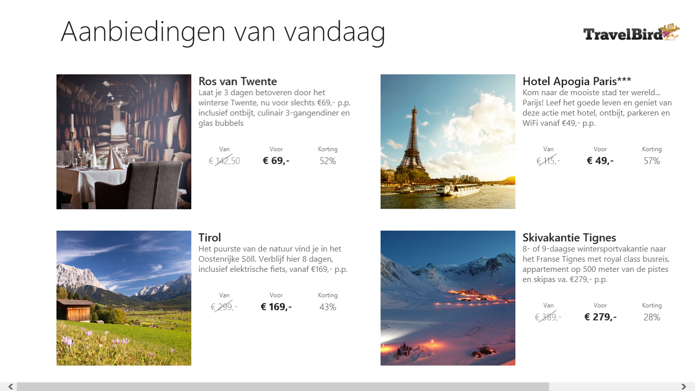 Travelbird Windows Store App